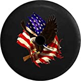 JL Spare Tire Cover American Bald Eagle Carrying Break Action Shotgun American Flag with Backup Camera Hole Black 32 in