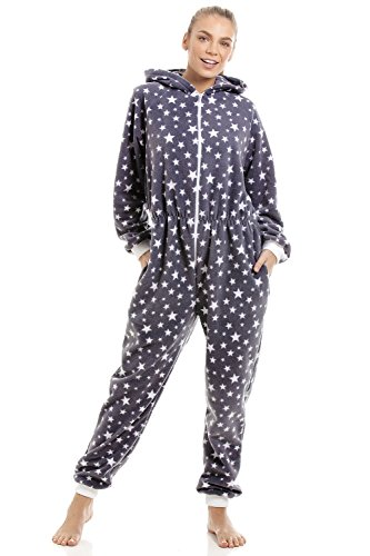CAMILLE Damen Schlaf-Overall aus weichem Fleece - Grau mit weißen Sternen 42-44