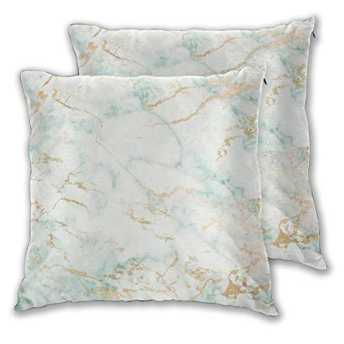 Art Fan-Design Juego de 2 fundas de cojín, color blanco, verde menta, mármol, dorado, gris, glamuroso, cuadradas, fundas de almohada para sofá, silla, sofá, dormitorio, decoración