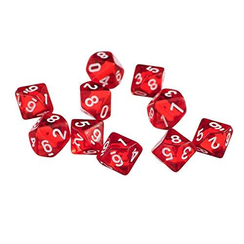 D10 Rot Zehn Seitige Juwel Würfel Für RPG Dungeons & Dragons Spiele Satz Von 10 Würfel - Rot