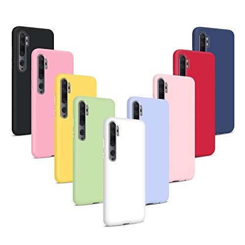 9X Cover per Xiaomi Mi Note 10/ CC9 PRO, Morbido Silicone Case Tinta Unita Ultra Sottile Custodia TPU Flessibile Gomma Protezione Posteriore Antiscivolo Protettiva Skin Caso - 9 Colori