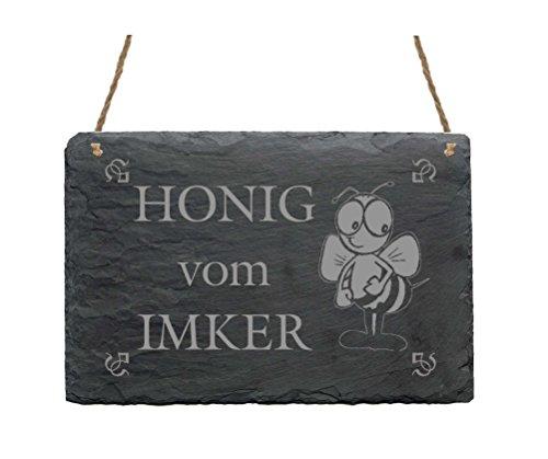 Schiefertafel HONIG VOM IMKER - Schild mit Motiv lustige Biene - ca. 22 x 16 cm