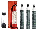 Drinkmate Sparkling Water and Soda Maker, Carbonates Any Drink, ULTIMATE BUNDLE With CO2 and BPA Free Bottles (Royal Red)