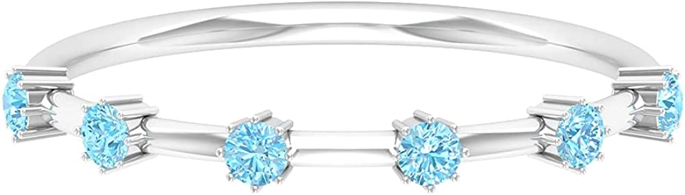 1/4 CT Aquamarine Simple Stackable Ring (AAA Quality), 14K Solid Gold