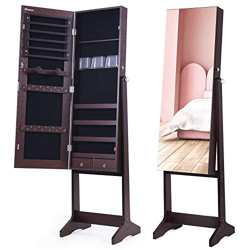 Nicetree Jewelry Cabinet with Full-Length Mirror, Standing Lockable Jewelry Armoire Organizer, 3 Angel Adjustable (Brown)
