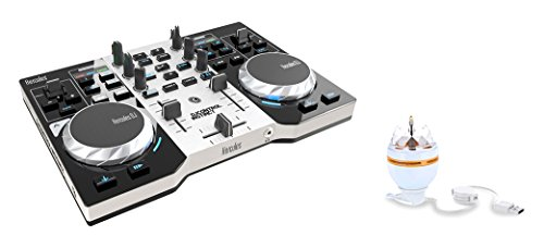 DJ Hercules DJ Control Instinct Party Pack - Mesa Mezclas DJ [ultraportátil, Salidas de Audio para Usar con Auriculares y Altavoces + LED Party Light USB]