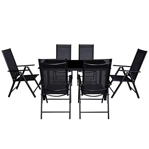 QWSX Simple design 7pcs Simple Outdoor Dining Set with Folding Chair Black Glass Top Tables for Garden Patio Balcony Modern Table Weather-resistant Durable (Color : Black)