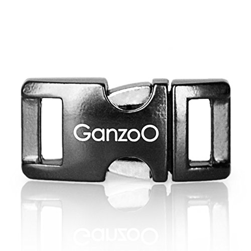 Ganzoo® Metall-klick-Verschluss, Set aus 3 Stück, 3/8 Zoll, rostfrei/Steck-Schließer/Steck-Verschluss für Paracord-550-Armbänder, Hunde-Halsbänder, Oberfläche schwarz lackiert