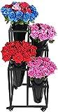 Garden Grow Plant Pot Stand Pack De 4 Macetas Soporte para Jardín Patio Balcón Plant Pot Holder Estante De Flores De Hierro con Rueda Incluyendo Macetas De Arado