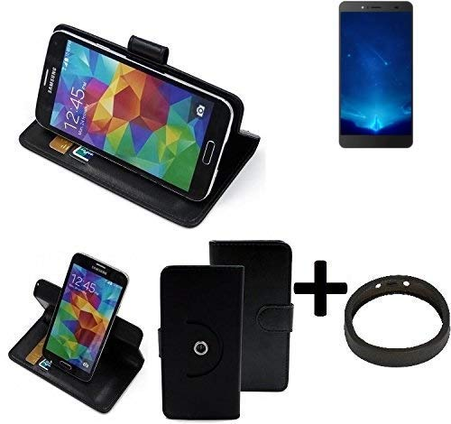 K-S-Trade® Case Schutz Hülle Für Bluboo Maya Max + Bumper Handyhülle Flipcase Smartphone Cover Handy Schutz Tasche Walletcase Schwarz (1x)