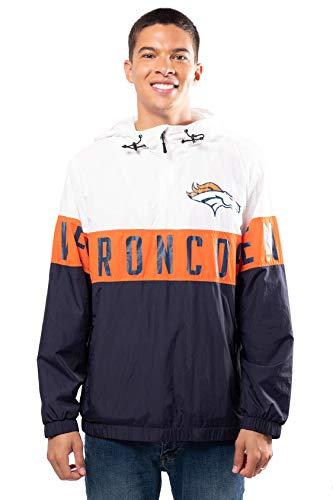 Ultra Game NFL Denver Broncos Mens Quarter Zip Packable Hoodie Windbreaker Jacket, White, Medium