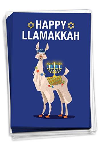 NobleWorks - 12 Happy Hanukkah Cards Boxed (1 Design, 12 Cards) - Funny Religious Chanukkah Notecard Set, Bulk Holiday Greetings - Llamakkah C7050HKG-B12x1
