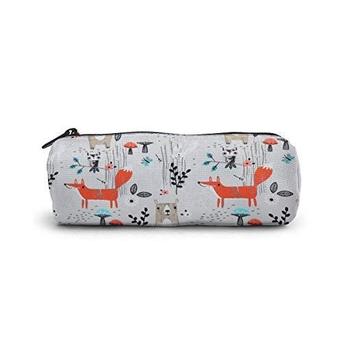 Estuche de lápices Animal Genius con forma de cilindro, bolígrafo, bolsa de papelería, cremalleras, bolígrafo, bolsa de papelería de oficina, neceser cosmético
