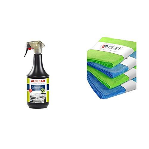 ALCLEAR 721IX Auto Insektenentferner für Windschutzscheibe, Scheinwerfer, 1.000 ml + Glart 4448 4er Set superweiche Mikrofasertücher Zwei Stück blau 40 x 40 cm und Zwei Stück grün 40 x 40 cm