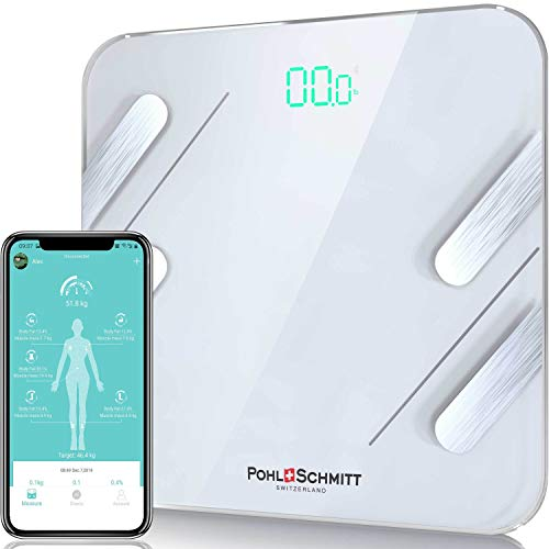 Pohl Schmitt Bluetooth Body Fat Scale, Smart Wireless BMI Bathroom Weight Scale Body Composition Monitor Health Analyzer with Smartphone App for Body Weight, Fat, Water, BMI, BMR, Muscle Mass - White