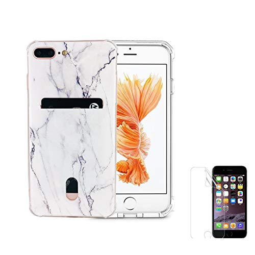 """Oddss Case Compatible for iPhone 8 Plus iPhone 7 Plus Case with Card Holder Slot Marble Ultra-Slim Thin Soft TPU Clear Cover Compatible for iPhone 8 Plus /7 Plus(5.5"""") with Screen Protector"""