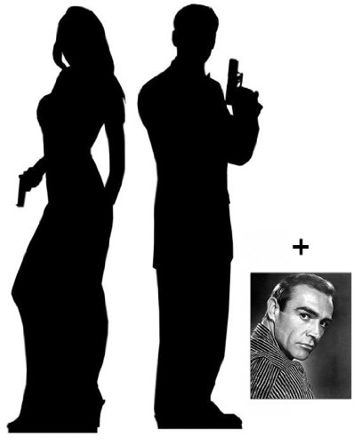 (Starstills UK) Fan Packs Secret Agent Male/Female - Silhouette Double Pack - Lifesize Cardboard Cutout/Standee/Standup - Includes 8x10 (20x25cm) Star Photo