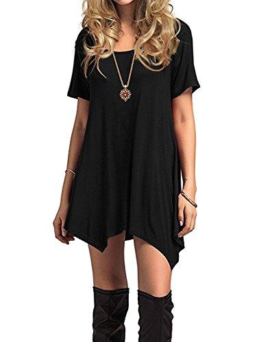 Durio Azue Damen Sommerkleider Kurzarm Kleider Casual T-shirt kleid Loose Fit für Alltag, EU 48 (Herstellergröße 2XL), Schwarz K