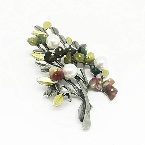 Piner vintage natuursteen pin mannen en vrouwen pak broche kostuum kerstboom broche luxe sieraden voor vrouwen, foto kleur