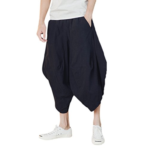 Zhhlinyuan Hommes Adolescents Douillet Respirant Cool Lin Bottoms Turkey Shorts Fashion Loose Hippie Casual Harem Pants