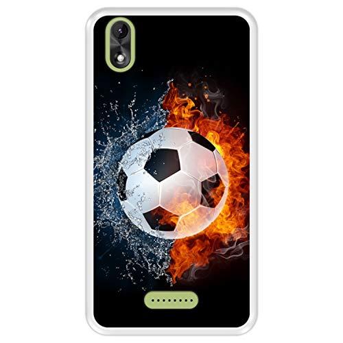 Hapdey silikon Hülle für [ Wiko Lenny 4 Plus ] Design [ Feuer & Wasser, Fußball ] Transparenz Flexibles TPU