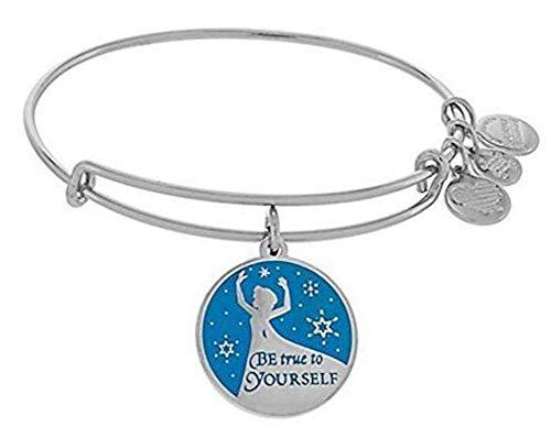 Disney Frozen Queen Elsa Be True to Yourself Bangle Charm Bracelet Silver
