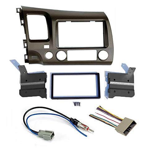 2006 2007 2008 2009 2010 2011 Earth Taupe Aftermarket Radio Stereo Double Din Install/Installation Dash Kit with Wiring Harness and Antenna Adapter FITS honda civic