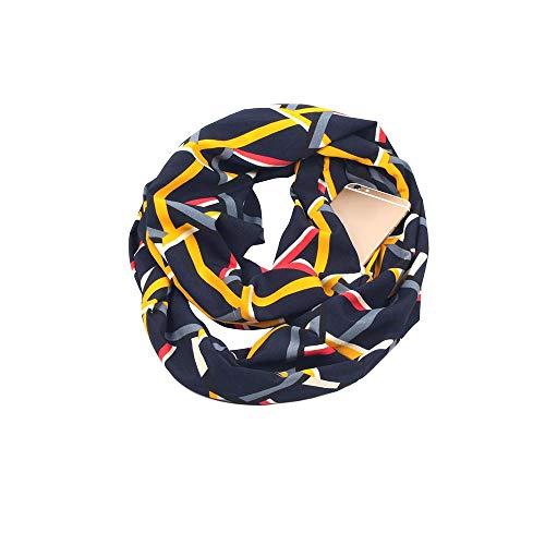 Doublehero Damen Loop Schal Blume Gedruckt, Herbst Winter Warme Mode Reißverschluss Secret Hidden Tasche Lange Schal Dünner Loop Halstuch Sportwear Bunt Mädchen Freizeit Leichter Schal Outdoor (Navy)