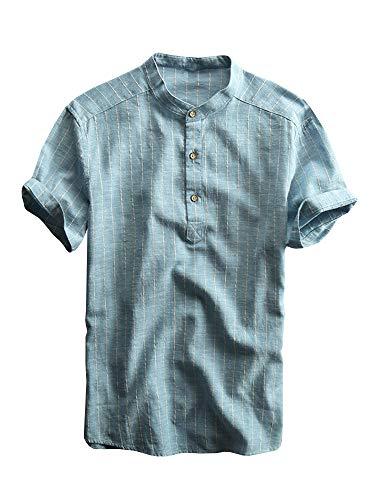 Taoliyuan Mens Short Sleeve Linen Henley Shirt Vertical Striped Banded Collar Summer Beach V Neck Hippie T Shirt Mint Blue