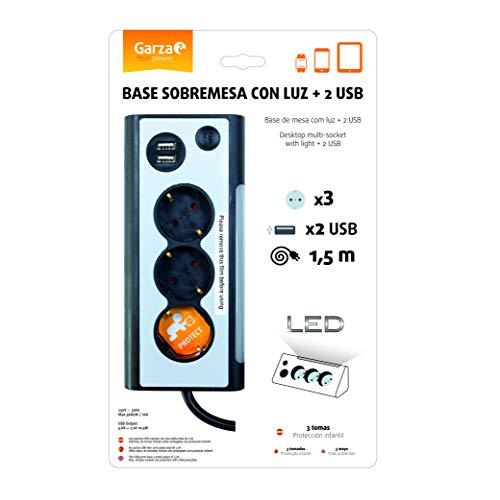 IMPREX EUROPE 420041 Garza - Base múltiple de sobremesa con luz de 3 tomas y 2 puertos USB