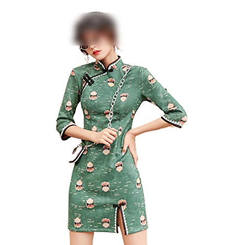Qipao 2020 Suede Vintage Slim Shark Impreso Mujeres de la Media Manga de la Ropa China Mini Vestidos Cheongsam