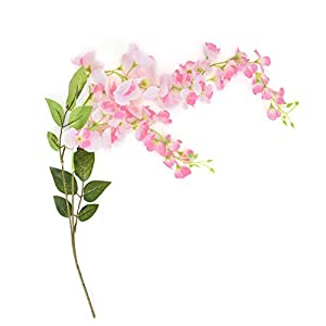 Simlug Artificial Wisteria Flower for Decoration, 60cm Lifelike Plastic Flowers Wall Hanging Wedding Home Decoration(Pink)