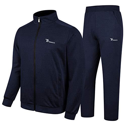 YSENTO Men's Track Suits 2 Pieces Jacket & Pants Warm Up Jogging Suits Sweatsuit Blue Size M