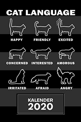 KALENDER 2020: A5 Kätzchen Terminplaner für Katzenbesitzer mit DATUM - 52 Kalenderwochen für Termine & To-Do Listen - Sprache der Katzen Terminkalender Katzenschwanz Jahreskalender Katzensprache