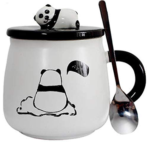 Panda Kaffeebecher, lustige 3D-Porzellantassen, 400 ml, Sublimations-Tassen, mit Geschenk-Box Einsamer Panda