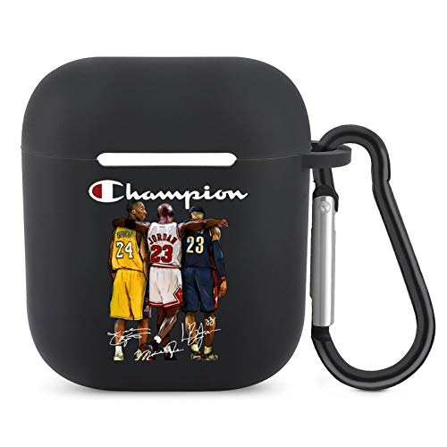 Case for Airpods, Airpod Silicone Skin Cases Cover, Full Protective Durable Shockproof Drop Proof with Keychain Compatible Kobe Bryant X Michael Jordan X Lebron