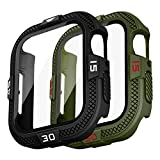T-ENGINE 2 fundas compatibles con Apple Watch 44 mm SE Series 6 5 4, 360 ° protección completa con protector de pantalla de vidrio templado, negro (número blanco) + verde militar