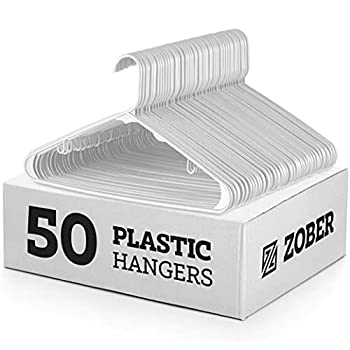 White Standard Plastic Hangers  50 Pack  Durable Tubular Shirt Hanger Ideal for Laundry & Everyday Use Slim & Space Saving Heavy Duty Clothes Hanger for Coats Pants Dress Etc Hangs up to 5.5 lbs