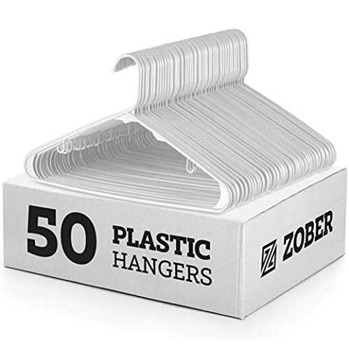White Standard Plastic Hangers (50 Pack) Durable Tubular Shirt Hanger Ideal for Laundry & Everyday Use, Slim & Space Saving, Heavy Duty Clothes Hanger...