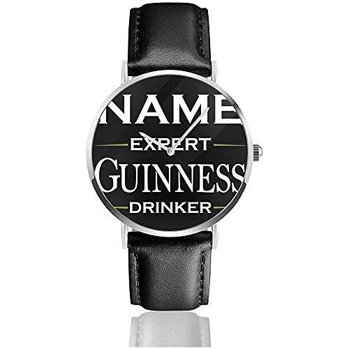 Personalisierte Guinness Expert Trinkeruhren Quarzlederuhr mit schwarzem Lederband für Sammlungsgeschenk