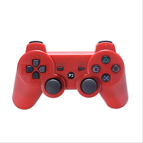 Leisont - Gamepad Bluetooth inalámbrico para Control Remoto de Consola de Juegos PS3 Rojo.