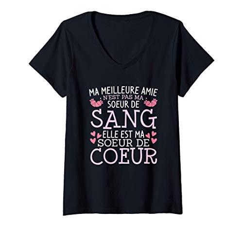 Femme Meilleure Amie Soeur Par Coeur Idée Cadeau Pour Femme T-Shirt avec Col en V