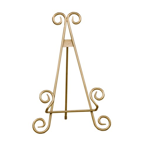 Red Co. Decorative Curved Plate Stand and Art Holder Easel in Gold Finish - 13'