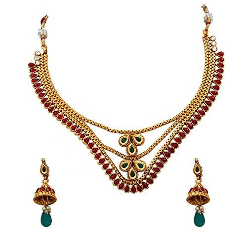 JewelryGift Juego de collar con pendientes Jhumki bañados en oro y cristal rojo, exclusivo étnico de la colección nupcial para niñas y mujeres