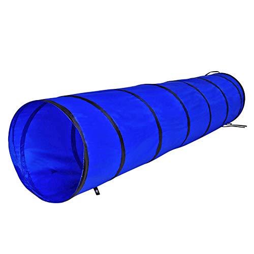 dibea Hundetunnel Spieltunnel Hundehöhle Agilitytunnel Blau Größe (S) 200 x 40 cm
