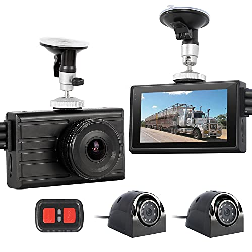VSYSTO 3CH Dash Cam for Truck Camera System Backup Camera 1080P Front View VGA Side Rear View Night Vision Waterproof Dash Camera with Built-in DVR LCD Monitor