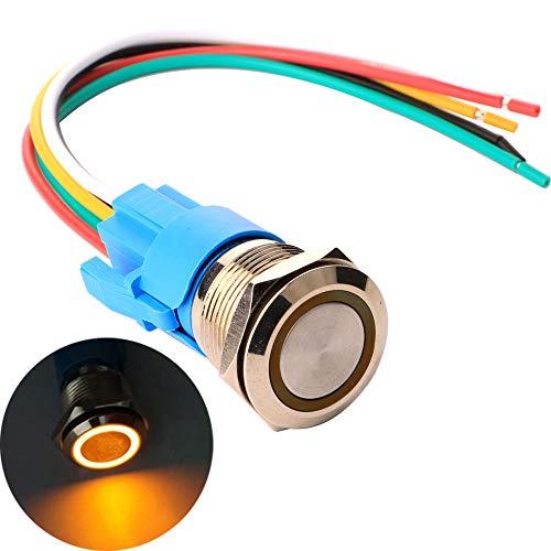 Gebildet 19mm Momentáneo Pulsador de Botón Acero Inoxidable, Impermeable ON/Off 12V-24V 5A LED 1NO1NC SPDT Temporal Botón con Enchufe de Cable(LED Naranja)