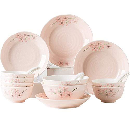 GAXQFEI Juego de platos de cerámica, juego de vajilla de porcelana japonesa con flores de cerezo de 18 piezas con cuchara de plato, servicio para 3-6, gran regalo para amigos y hogar, rosa,Rosado