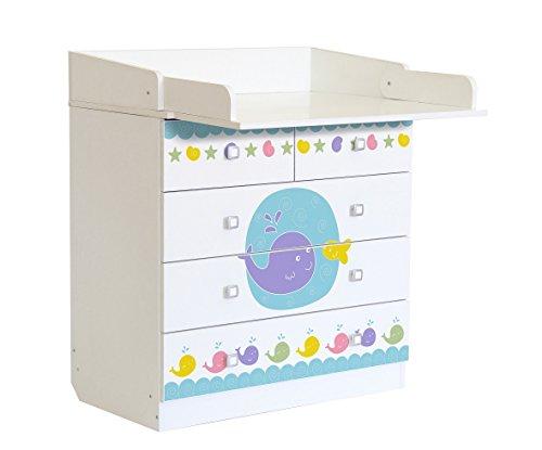 Polini Kids Baby Wickelkommode weiß Simple mit Motiv Meer Klappbare Wickelfläche