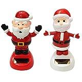 DINGJIN 2 Pcs Solar Dancing Toy Cute Santa Claus Solar Powered Dancing Dolls Swinging Animated Bobble Dancer Toy Car Decor (Welcome)